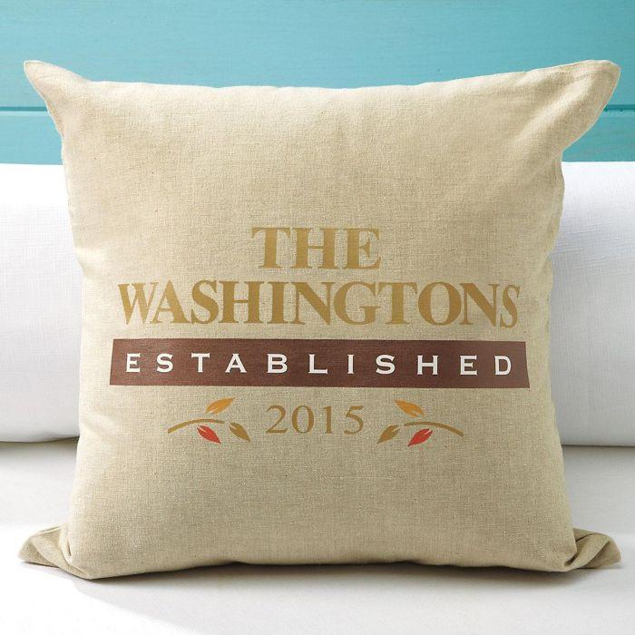 Personalized Established Burlap Decorative Pillow