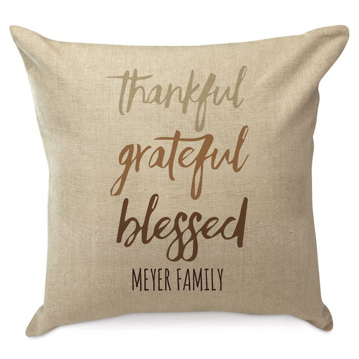 Thankful Grateful Blessed Personalized Pillow