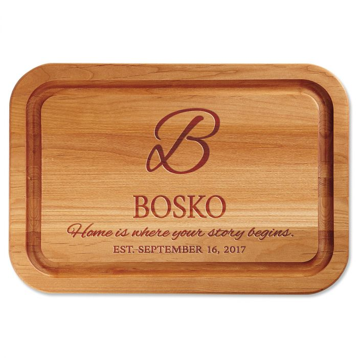 Personalized Home is Where Your Story Begins Engraved Wood Cutting Board