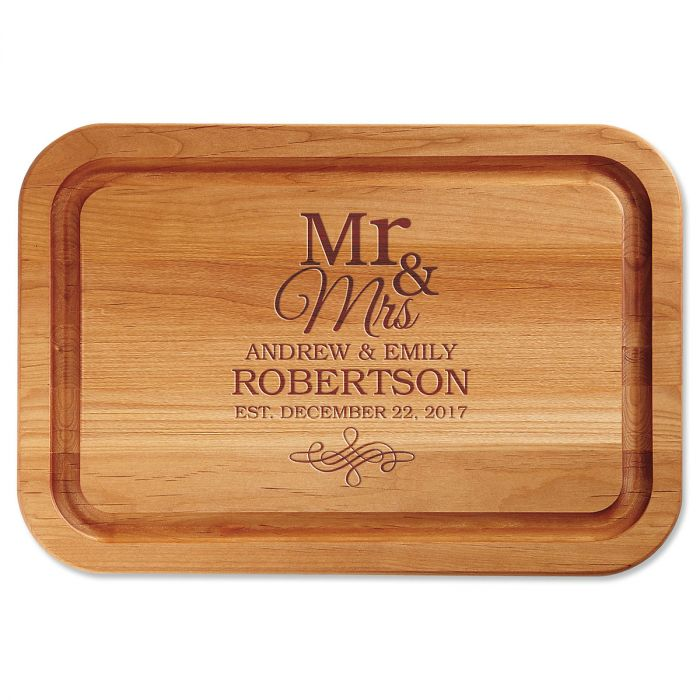 Personalized Mr. & Mrs. Engraved Wood Cutting Board