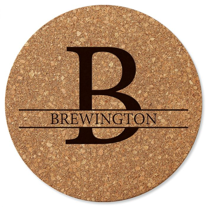 Initial and Last Name Round Cork Personalized Trivet