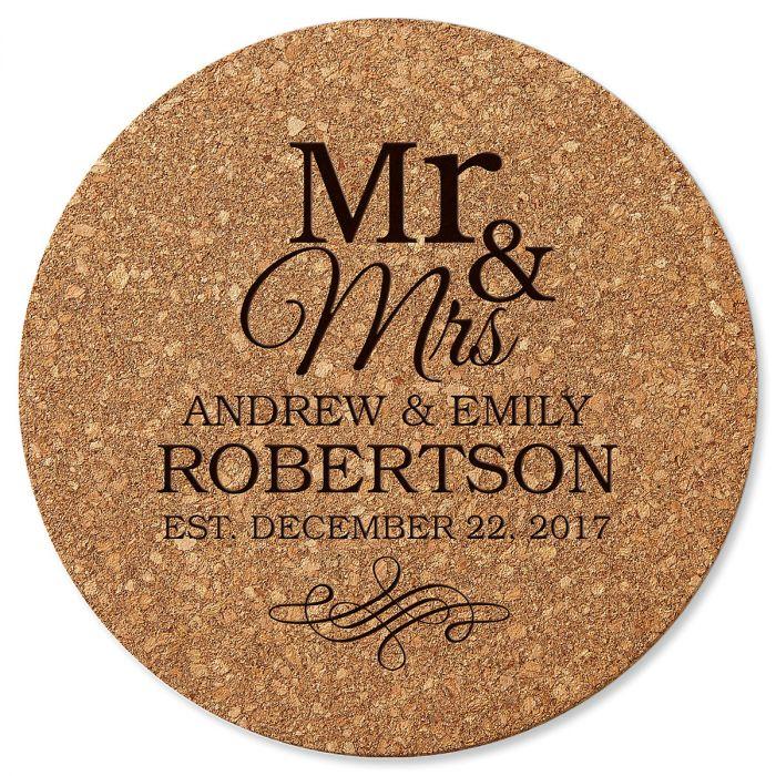 Mr. & Mrs. Round Cork Personalized Trivet