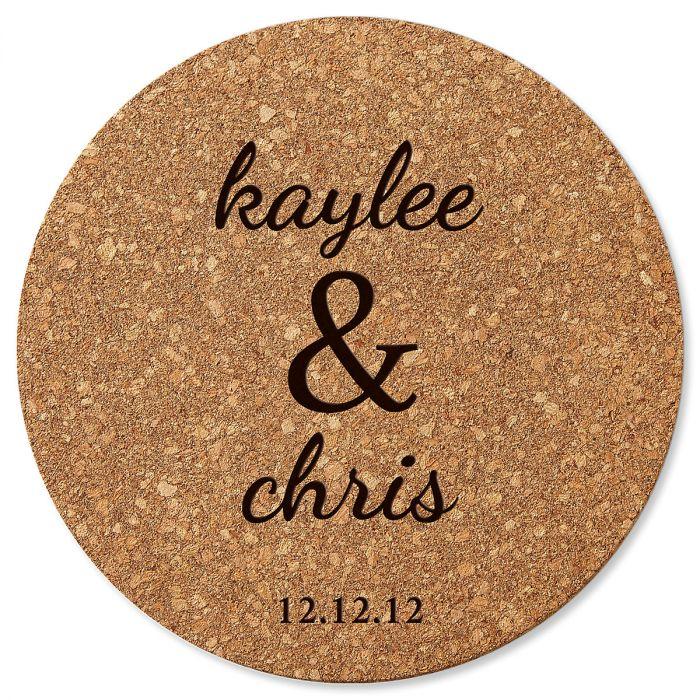 Couple's Round Cork Personalized Trivet