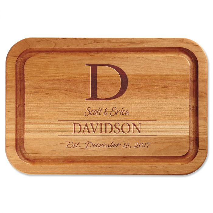Personalized Initial Engraved Wood Cutting Board
