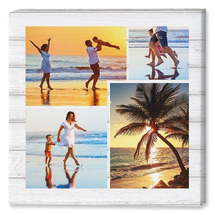 Light Wood Collage Canvas Photo Print
