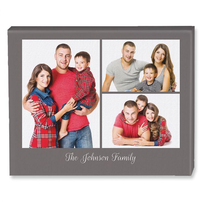 Family Name Grey Collage Canvas Photo Print