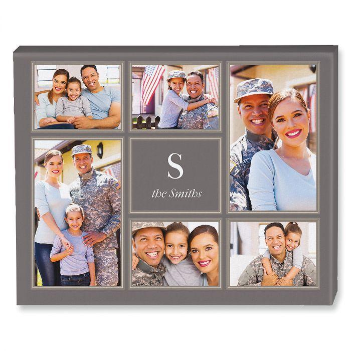 Monogram Grey Collage Photo Canvas
