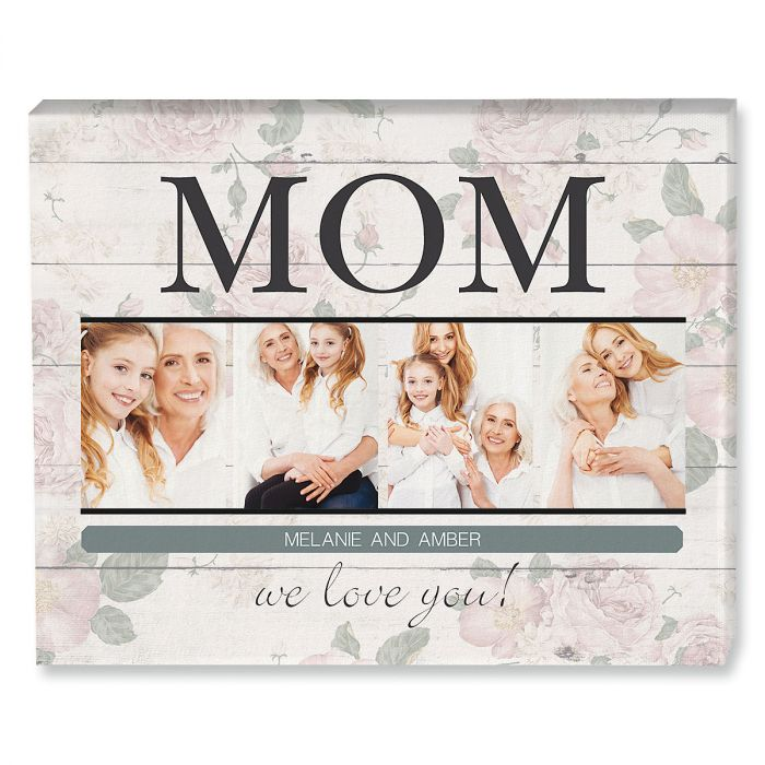 Mom Floral Collage Photo Canvas