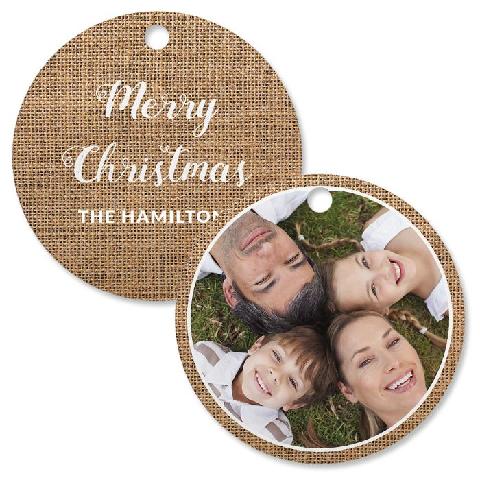 Burlap Personalized Photo Ornament – Circle