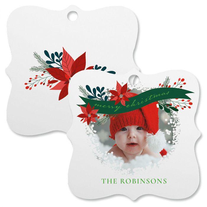 Flower Personalized Photo Ornament - Square Bracket