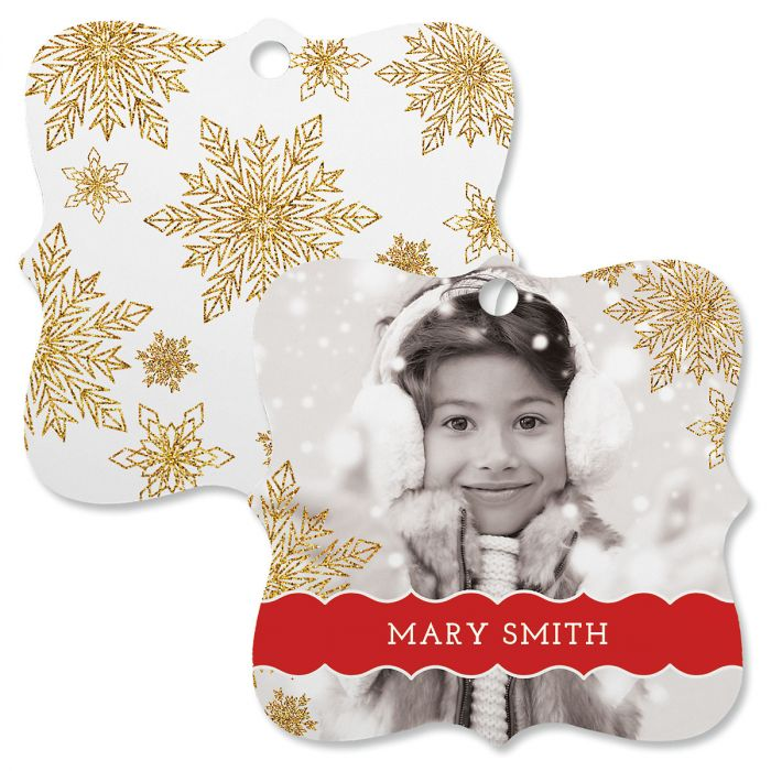 Glitter Snowflake Personalized Photo Ornament – Square Bracket