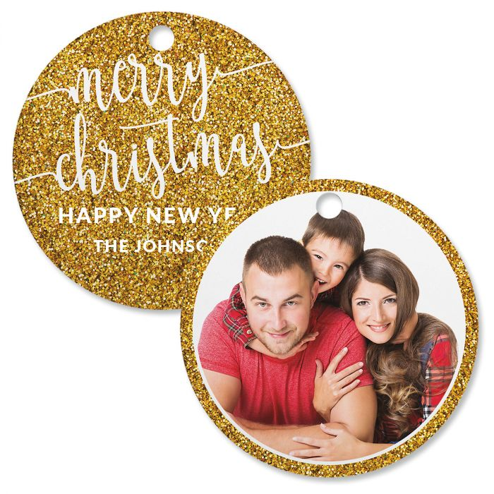 Gold Glitter Photo Ornament – Circle