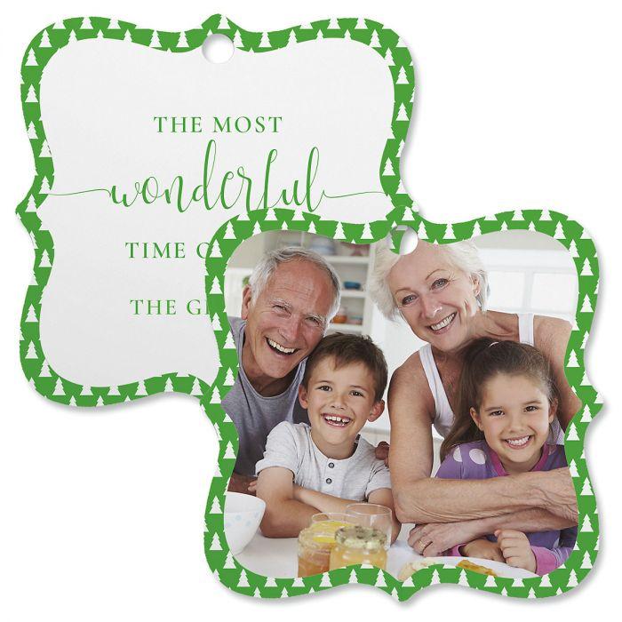Green Tree Personalized Photo Ornament – Square Bracket