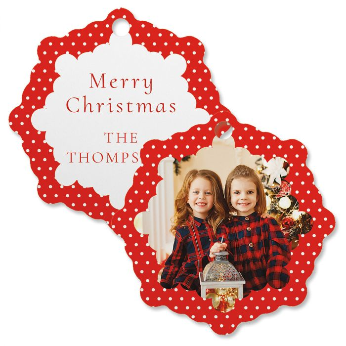Polka Dot Personalized Photo Ornament – Snowflake