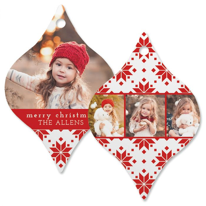 Red Sweater Photo Ornament – Tapered