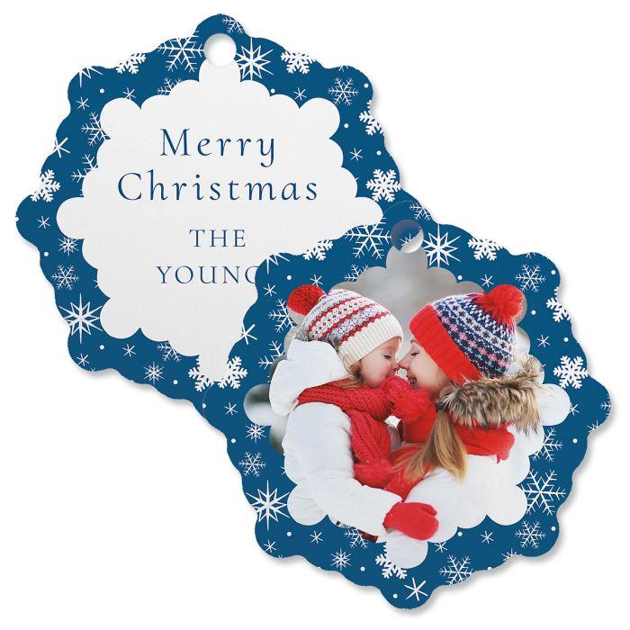 Blue Snowflake Personalized Photo Ornament – Snowflake