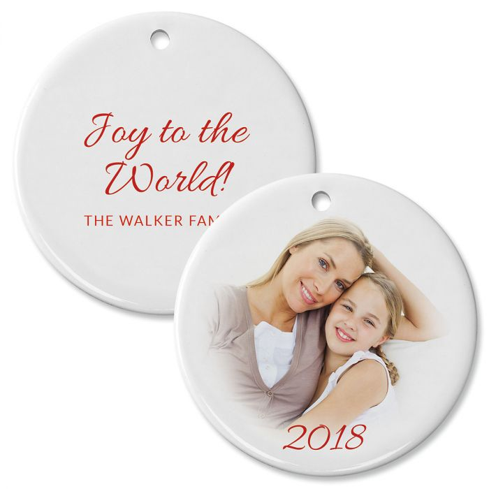 Joy Photo Personalized Circle Ornament