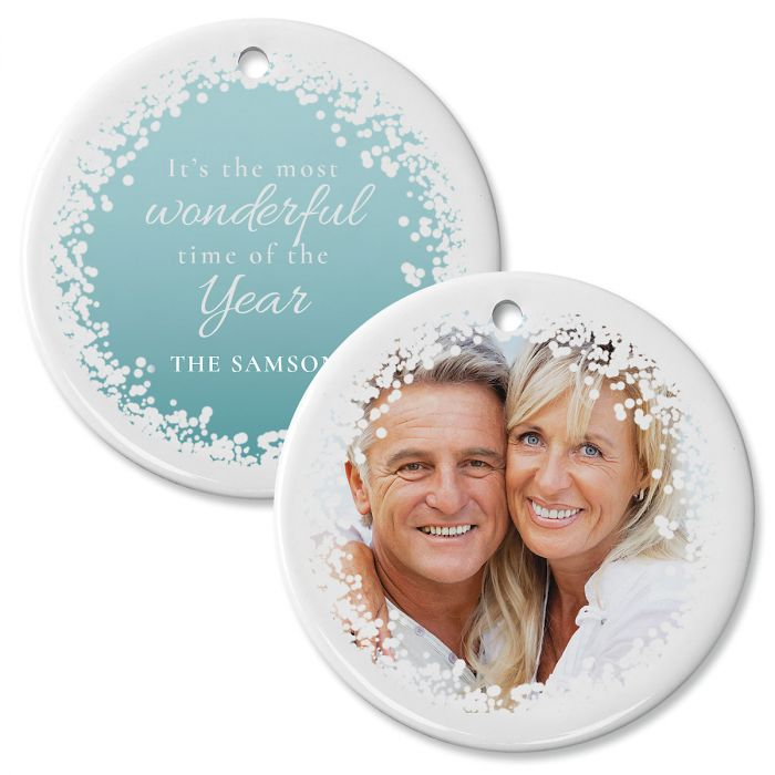 Confetti Snow Personalized Photo Ornament