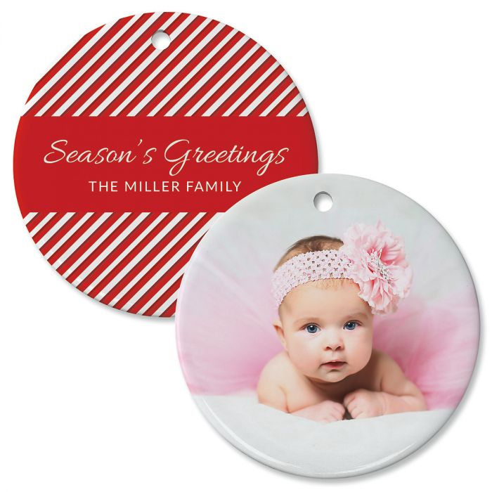 Candy Cane Personalized Photo Ornament – Circle