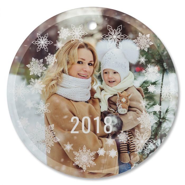 Snowflake Personalized Photo Ornament - Glass Round