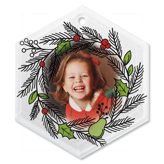 Wreath Personalized Photo Ornament - Glass Hexagon