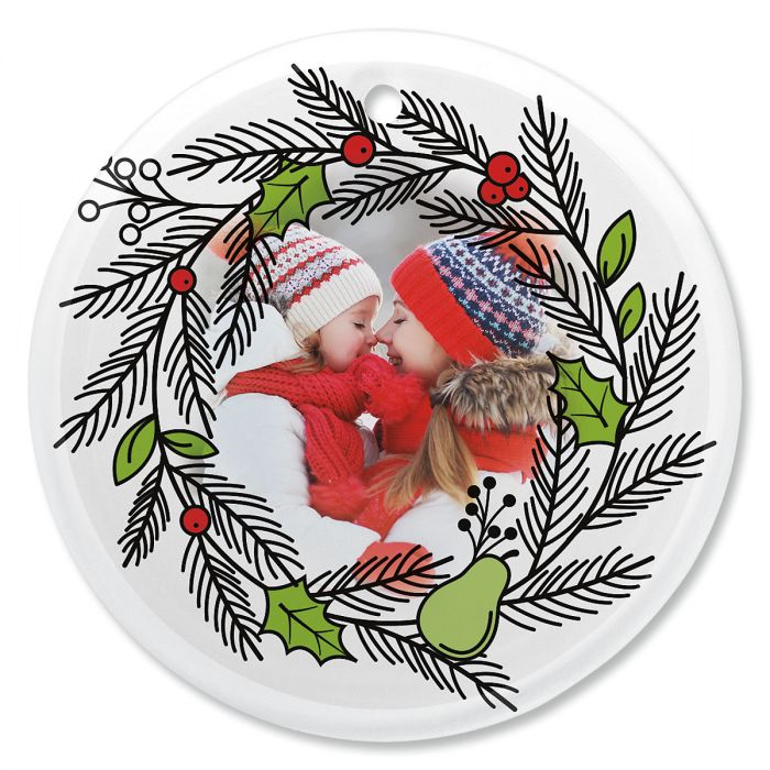Wreath Personalized Photo Ornament - Glass Round