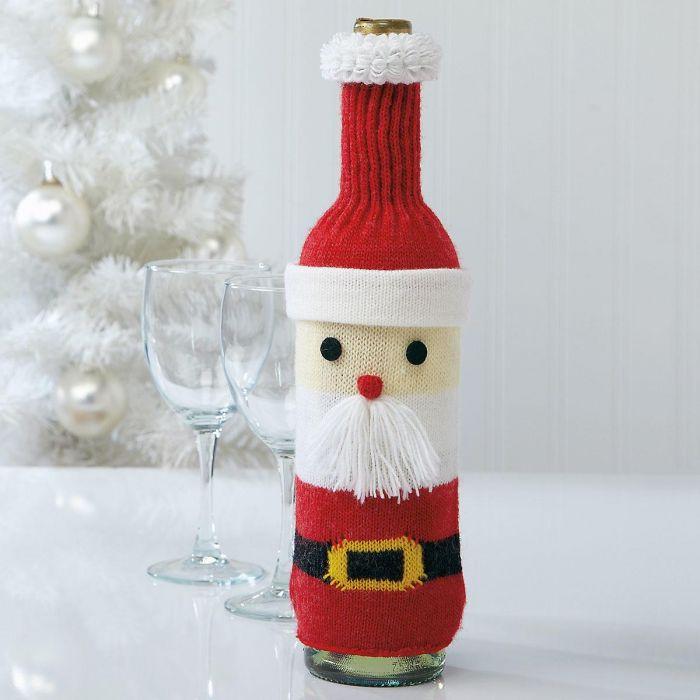 Knit Santa Bottle Cover