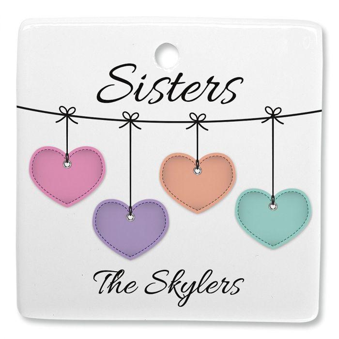 Sister Hearts Personalized Square Ornament