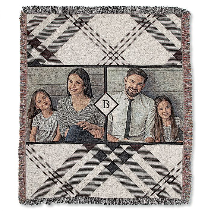 Woven Cotton Plaid Personalized Photo Throw