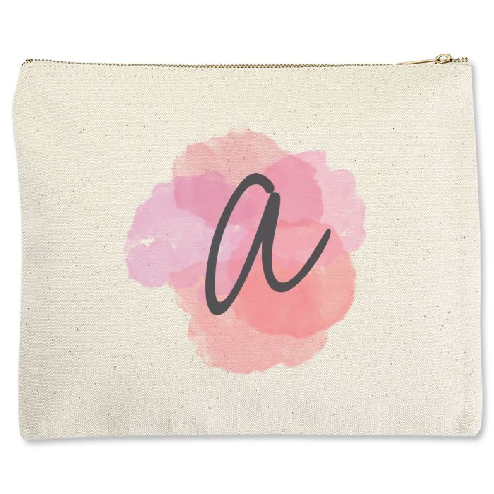 Personalized Watercolor Initial Zippered Pouch