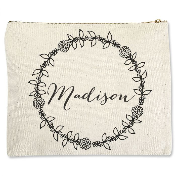 Personalized Name in Wreath Zippered Pouch