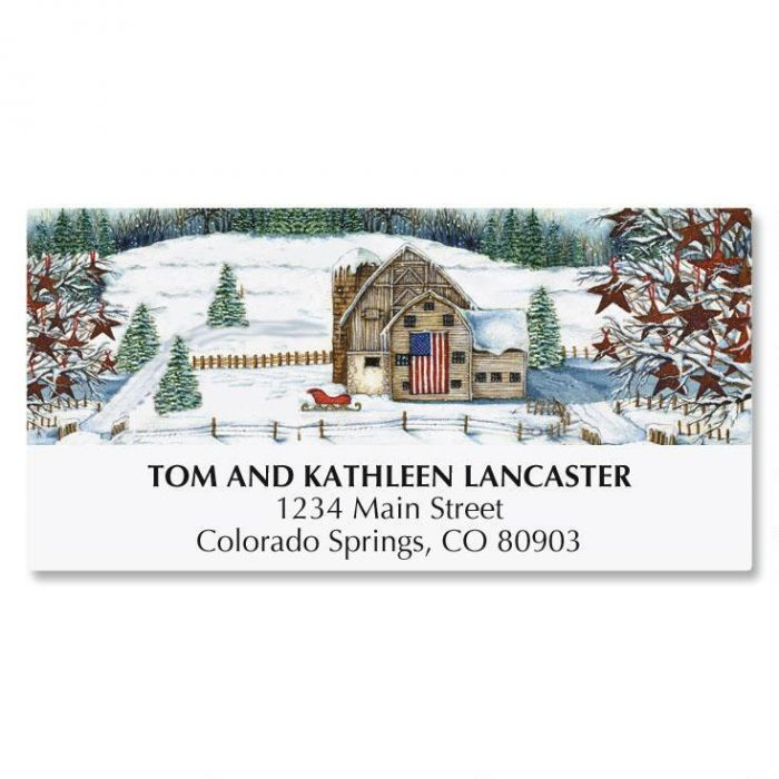 American Country Christmas Address Labels