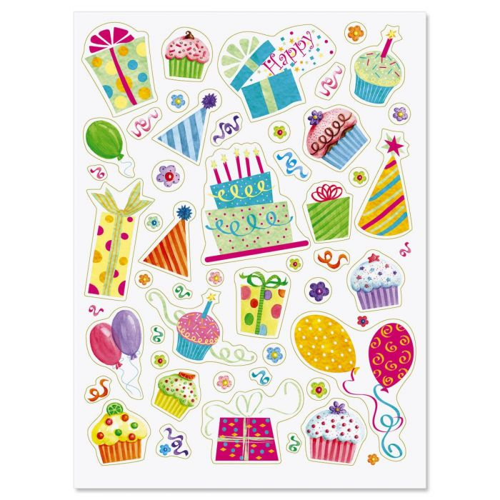 Birthday Party Stickers - BOGO