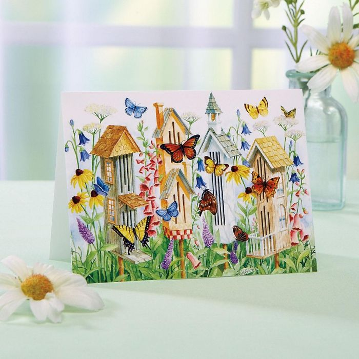 Butterfly Houses Note Cards - BOGO
