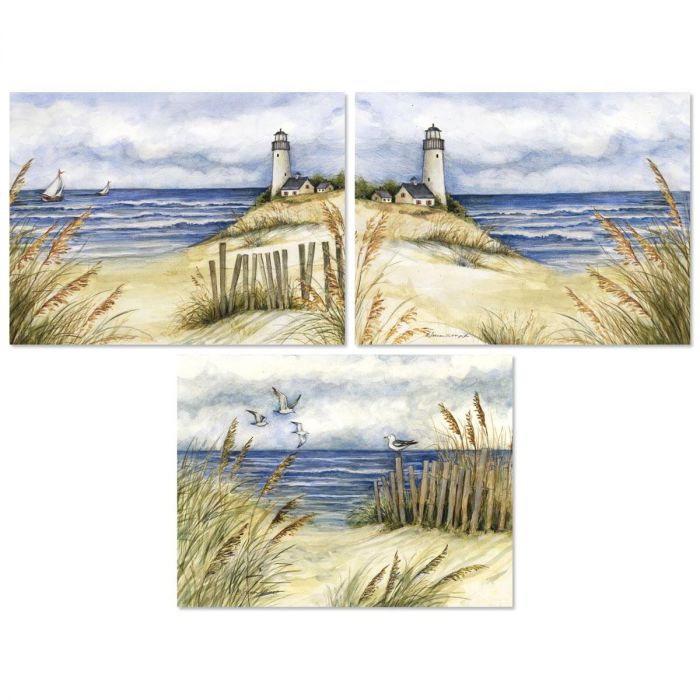 Lighthouse on Beach Note Cards