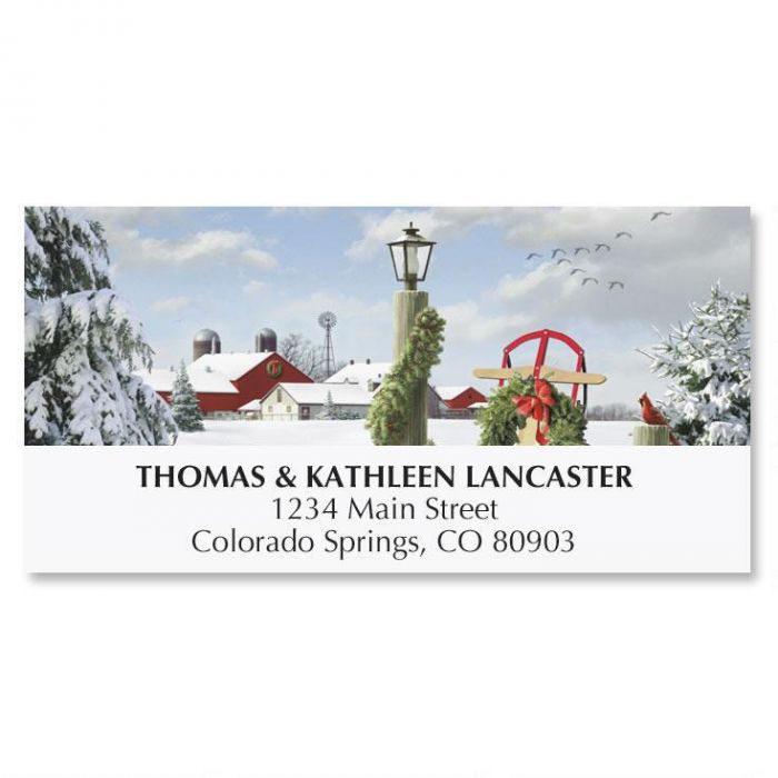 Winter in the Country Address Labels