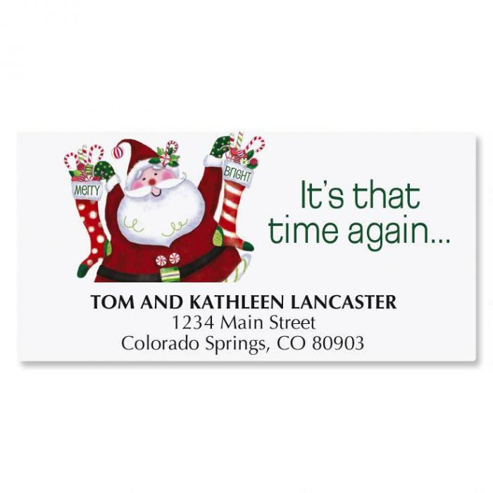 Merry & Bright Santa Christmas Deluxe Address Labels