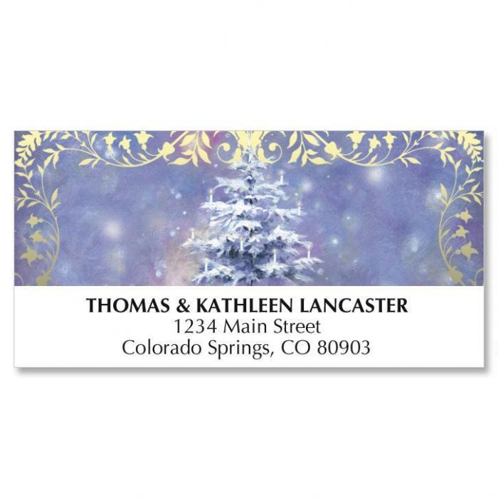 Candlelight Tree Christmas Address Labels