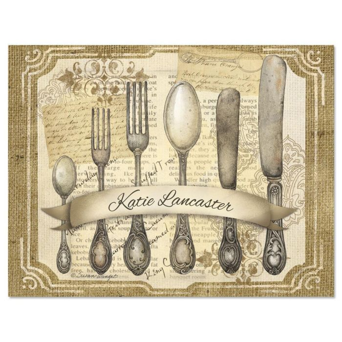Silverware Personalized Note Cards
