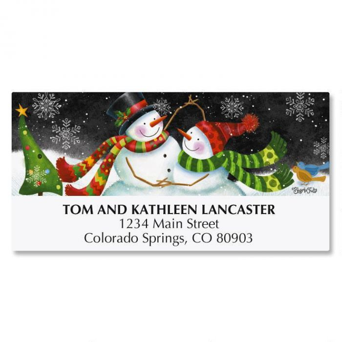 Snow Couple Deluxe Address Labels