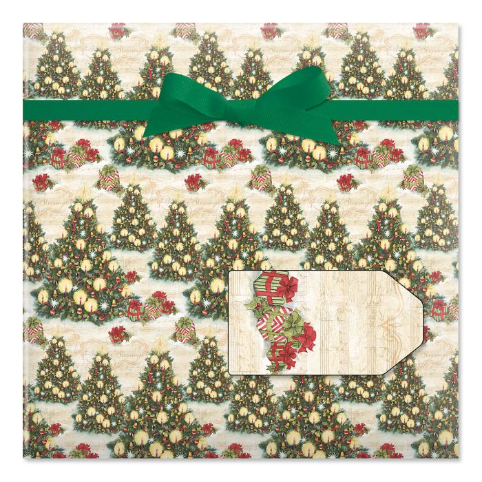 Christmas Tree Jumbo Rolled Gift Wrap and Labels