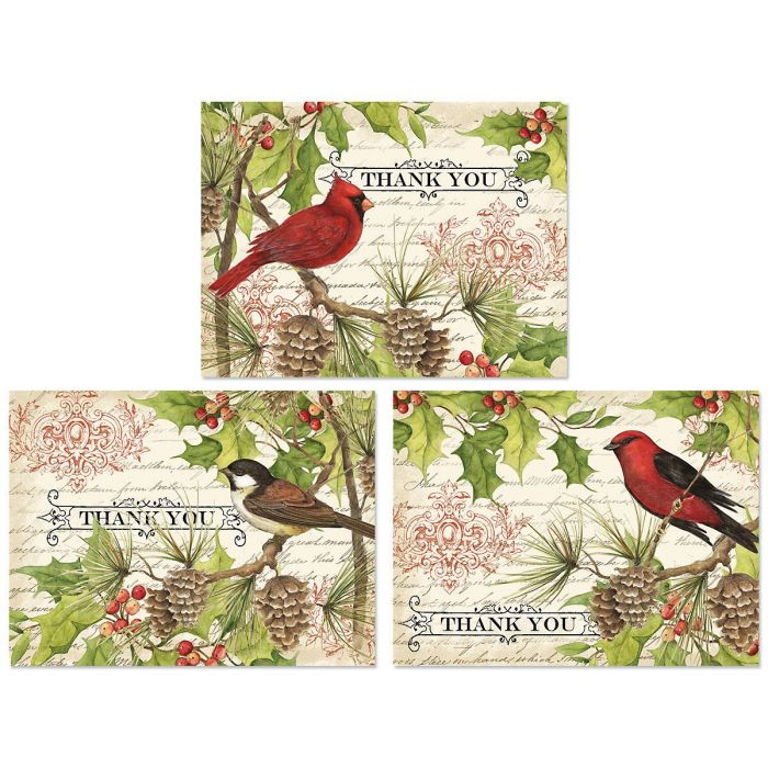Holly & Birds Thank You Note Cards - BOGO
