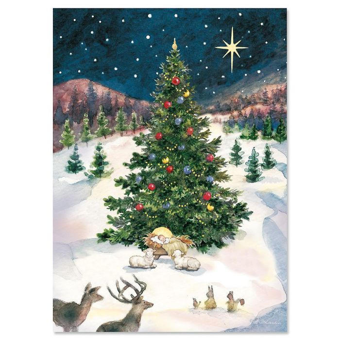 Christmas Tree with Manger Christmas Cards - Personalized