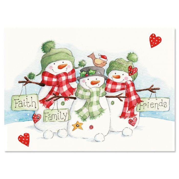 Snowmen Trio Christmas Cards