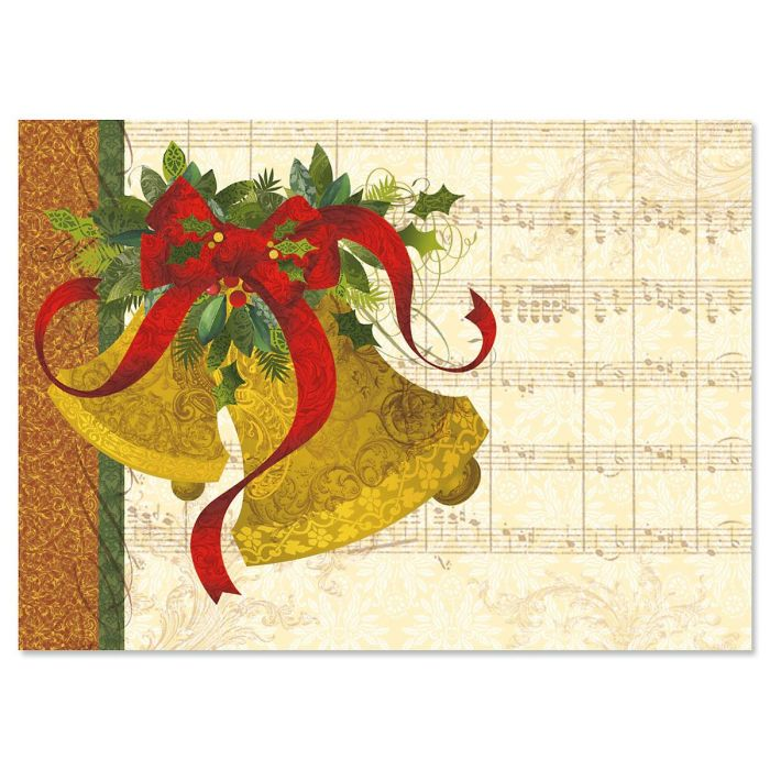 Joyful Bells Nonpersonalized Deluxe Christmas Cards - Set of 14