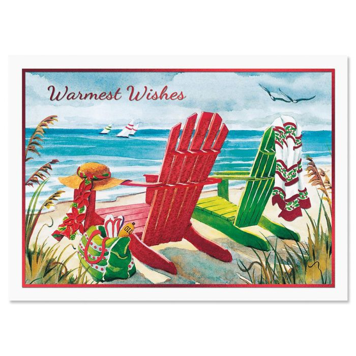 Beach Chairs Personalized Christmas Cards - Set of 14