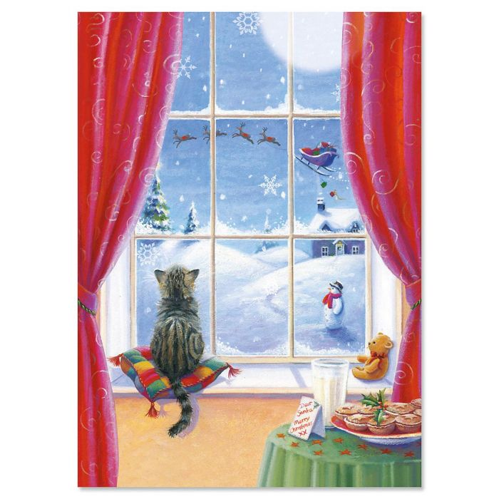 Watchful Kitten Christmas Cards