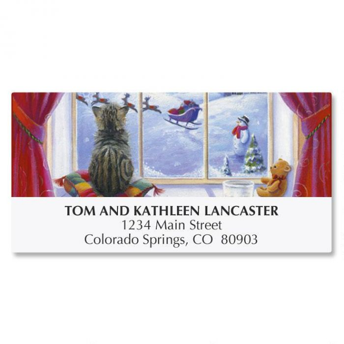 Watchful Kitten Address Labels
