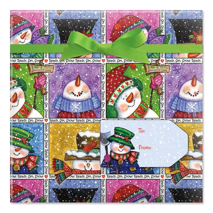 Snowmen in Squares Jumbo Rolled Gift Wrap and Labels