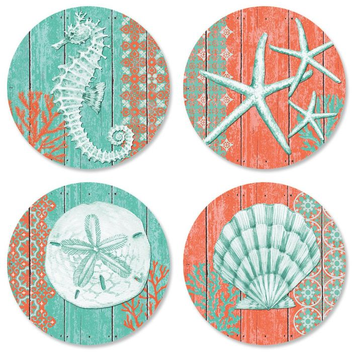 Coral Birthday Envelope Sticker Seals